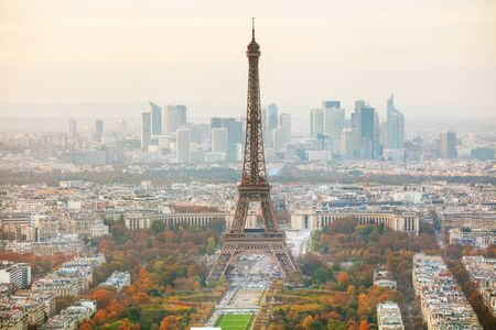 Aerial overview of Paris with the Eiffel tower