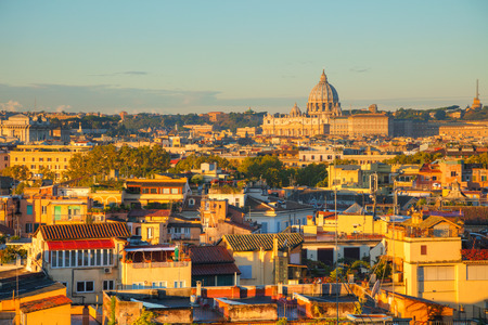 Aerial view of Rome with the Papal Basilica of St. Peter Stock Photo