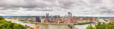 Panoramic aerial overview of Pittsburgh on a cloudy day Stock Photo