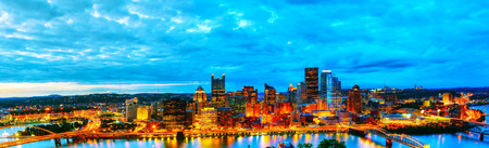 Panoramic aerial overview of Pittsburgh at sunset
