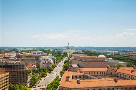 州議事堂とワシントン DC 市空撮