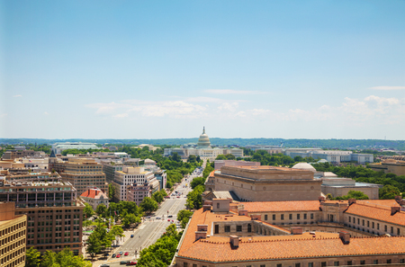 Washington, DC city aerial view with the State Capitol building