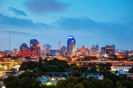 San Antonio, TX cityscape in the evening