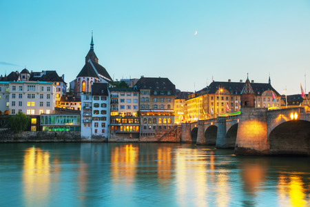 Basel cityscape in Switzerland at night time 免版税图像