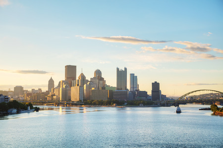 Pittsburgh cityscape with the Ohio river in the morning Stock Photo