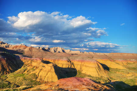 Scenic view at Badlands National Park, South Dakota, USA on acloudy day