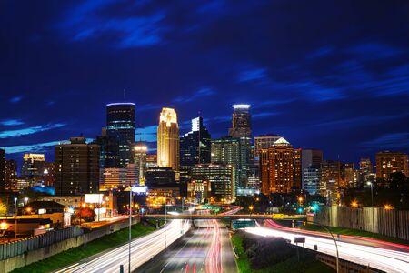 Downtown Minneapolis, Minnesota at the night time