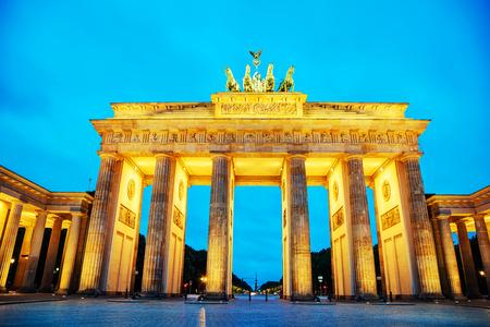 Brandenburg gate (Brandenburger Tor) in Berlin, Germany at sunrise Banco de Imagens