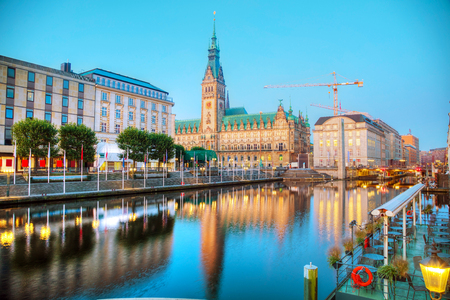 Rathaus of Hamburg, Germany early in the morning