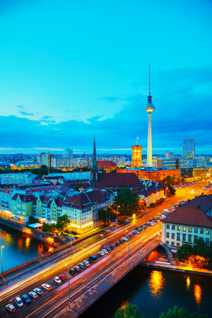 Aerial overview of Berlin, Germany at the sunset