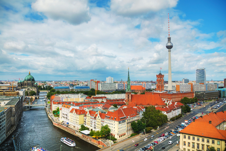 Aerial overview of Berlin, Germany on a cloudy day