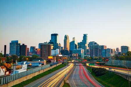 Downtown Minneapolis, Minnesota at the sunrise