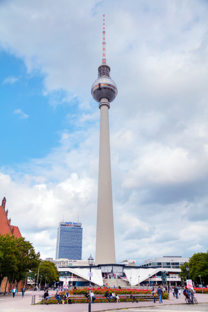 BERLIN - AUGUST 21: Fernsehturm (Television Tower) at the Alexanderplatz square on August 21, 2017 in Berlin, Germany.