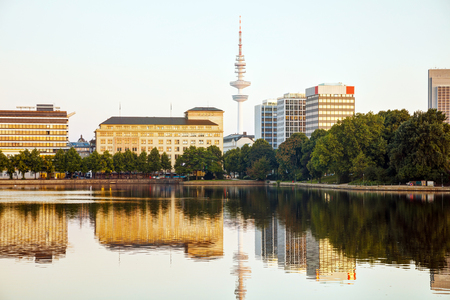 Hamburg cityscape overview with the Heinrich-Hertz-Turm communication tower Stock Photo