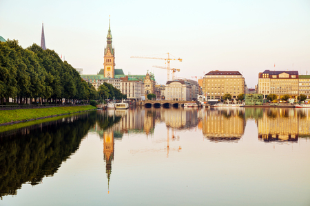 Cityscape of Hamburg, Germany in the morning