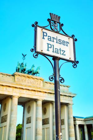 Pariser Platz sign in Berlin, Germany in the morning
