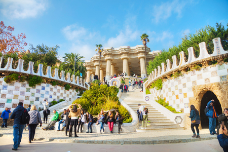 BARCELONA - DECEMBER 12: Overview of the park Guell entrance stairway on December 12, 2018 in Barcelona, Spain. Editorial