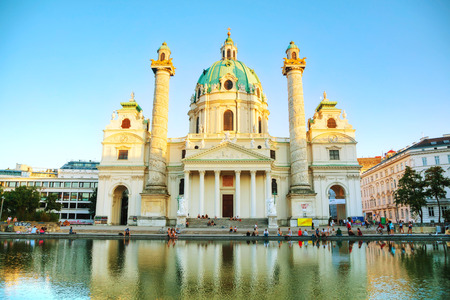 VIENNA - AUGUST 30: St. Charless Church (Karlskirche) on August 30, 2017 in Vienna. Its widely considered the most outstanding baroque church in Vienna, as well as one of the citys greatest buildings
