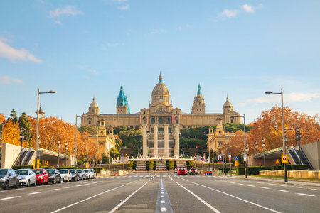 Montjuic hill in Barcelona, Spain on a sunny day Editorial