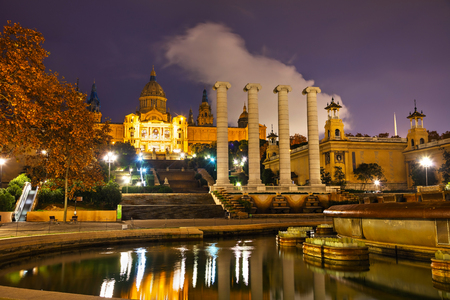 Montjuic hill in Barcelona, Spain at night