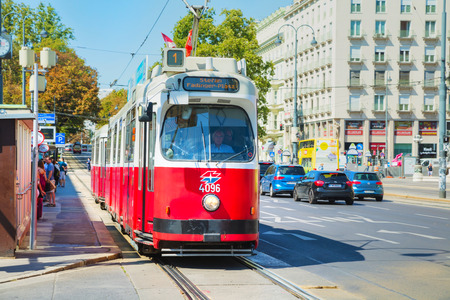 VIENNA - AUGUST 30: Old fashioned tram on August 30, 2017 in Vienna, Austria. Vienna has an extensive train and bus network.