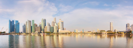 Panoramic overview of the Singapore financial district early in the morning