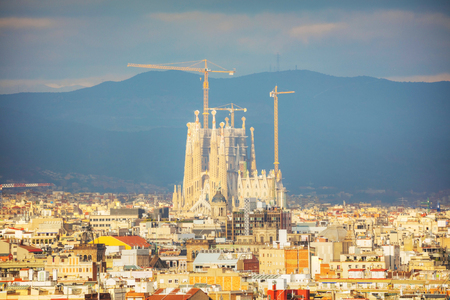 BARCELONA - DECEMBER 14: Aerial overview with Sagrada Familia on a sunny day on December 14, 2018 in Barcelona, Spain. Editorial