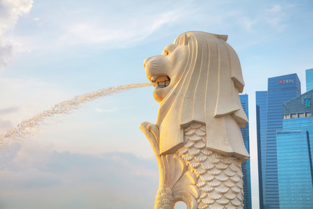 SINGAPORE - OCTOBER 27: Close up of the Merlion on October 27, 2018 in Singapore. Editorial