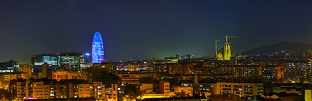 Barcelona aerial panoramic overview at the night time Editorial