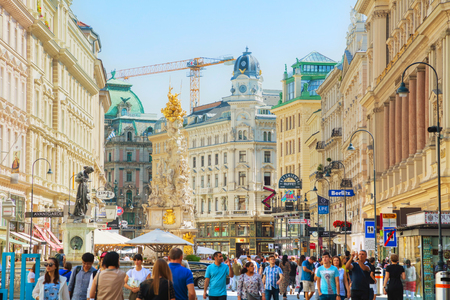VIENNA - AUGUST 30: The Pestsaule (Plague Column) at Graben street on August 30, 2017 in Vienna. Its one of the most well-known and prominent pieces of sculpture in the city.