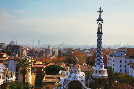 BARCELONA - DECEMBER 12: Overview of the city from park Guell on December 12, 2018 in Barcelona, Spain. Editorial