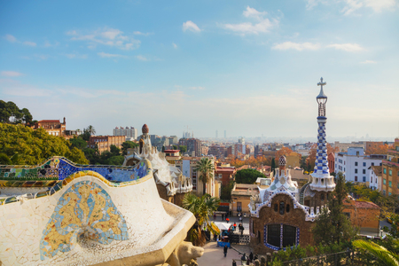 BARCELONA - DECEMBER 12: Overview of the entrance to park Guell on December 12, 2018 in Barcelona, Spain. Editorial
