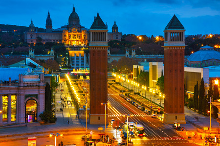 Aerial overview on Plaza Espanya in Barcelona, Spain at night
