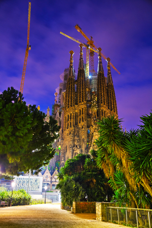 BARCELONA - DECEMBER 13: Overview with Sagrada Familia basilica at sunrise on December 13, 2018 in Barcelona, Spain.