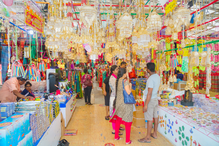 SINGAPORE - NOVEMBER 2: Little India quarter market with tourists on November 02, 2018 in Singapore.