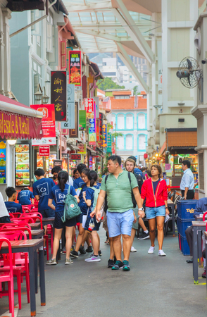 SINGAPORE - NOVEMBER 2: Chinatown quarter with tourists on November 02, 2018 in Singapore.