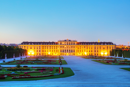 VIENNA - AUGUST 29: Schonbrunn palace at sunset on August 29, 2017 in Vienna. Its a former imperial 1,441-room summer residence and one of the most important cultural monuments in the country.