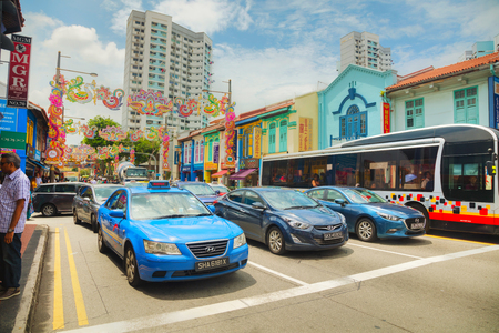 SINGAPORE - NOVEMBER 2: Little India quarter with tourists on November 02, 2018 in Singapore. Editorial
