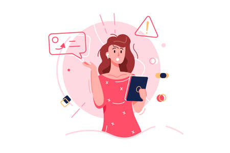 Business girl confused, girl with doughs and emotions, network isolated on white background, flat vector illustration Ilustrace