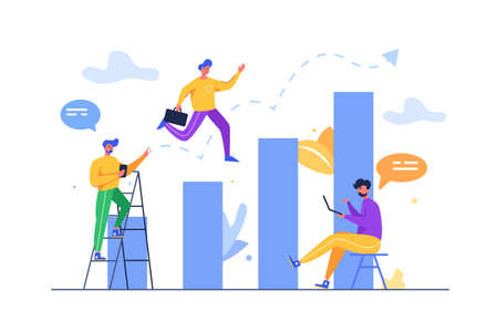 Group of guys moving towards success on an upward graphic to the top isolated on white background, flat vector illustration 向量圖像