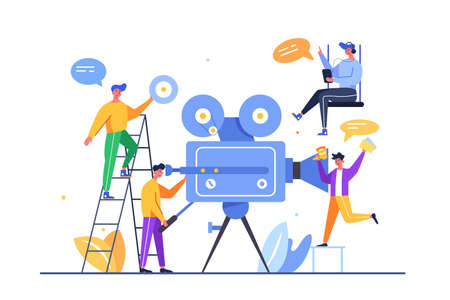 A team of guys are shooting video through a large video camera isolated on a white background, flat vector illustration 向量圖像