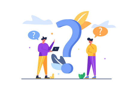 Two guys thinking how to answer the question asked them, big flat question mark, guy with folded hands thinking how to answer, isolated on white background, flat vector illustration Stock Illustratie