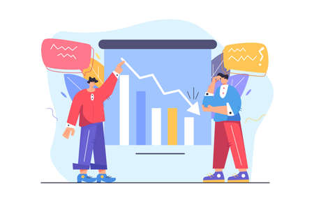 Two guys shareholders failed, failed to invite, falling graph, frustrated guy does not understand what is the reason, isolated on white background, flat vector illustration