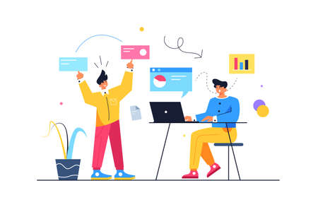 Two guys are running the processes, the guy is moving virtual screens, the guy is sitting at the laptop, isolated on white background, flat vector illustration