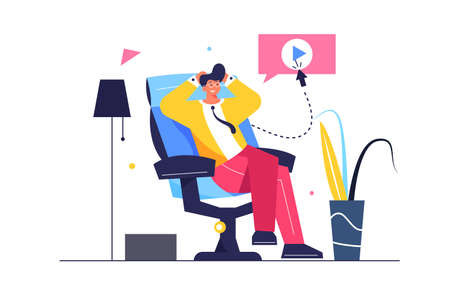 The guy is resting while sitting in a comfortable chair, the guy is sitting with folded arms to the head, isolated on white background, flat vector illustration