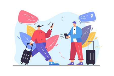 Two guys tourists looking for a way in mobile gadgets, guy goes with suitcase and phone isolated on white background, flat vector illustration