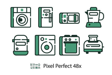 Modern set of household appliances linear icons, microwave oven, stove, toaster isolated on white background, flat vector illustration