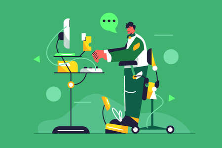 Young guy working at a computer at a lifting table on a standing chair isolated on a green background, flat vector illustration