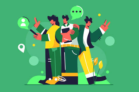 A group of colleagues are standing next to each other and discussing a project, a girl in the phone, a guy folded his arms, isolated on a green background, flat vector illustration