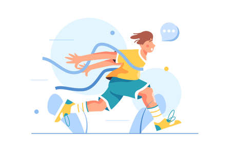 Guy athlete finishes in running competition, crosses the tape, came running first, isolated on white background, flat vector illustration Ilustración de vector